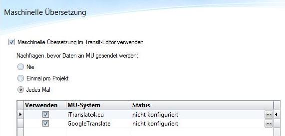 STAR SP7: Grundeinstellungen Maschinelle Übersetzung