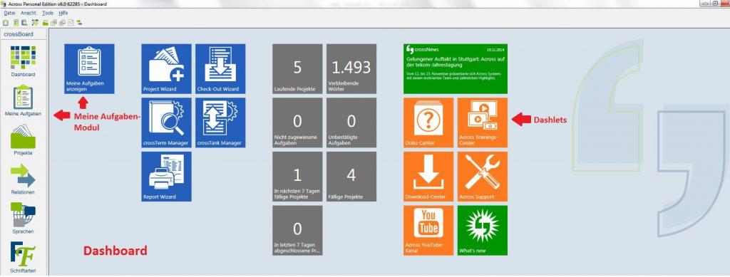 Across Version 6: Benutzeroberfläche - Dashboard