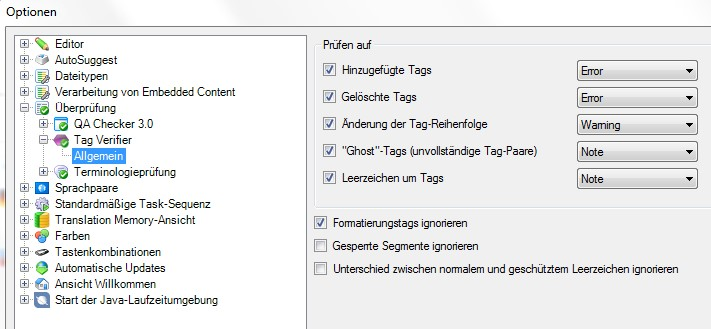 Screenshot SDL Trados Studio 2014: settings for tag verifier in SDL Trados SP 2