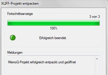 SP9: Import eines memoQ-Pakets in Transit NXT