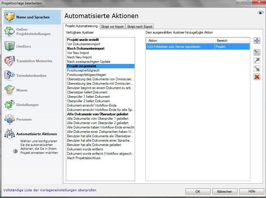 memoQ Cloud: Automatisierte Aktionen in der Projektvorlage