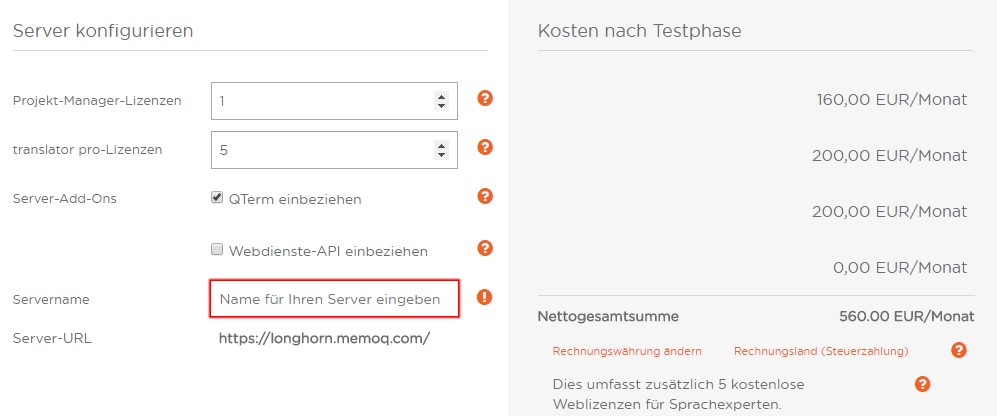 memoQ Cloud: Beantragung eines memoQ-Cloud-Servers
