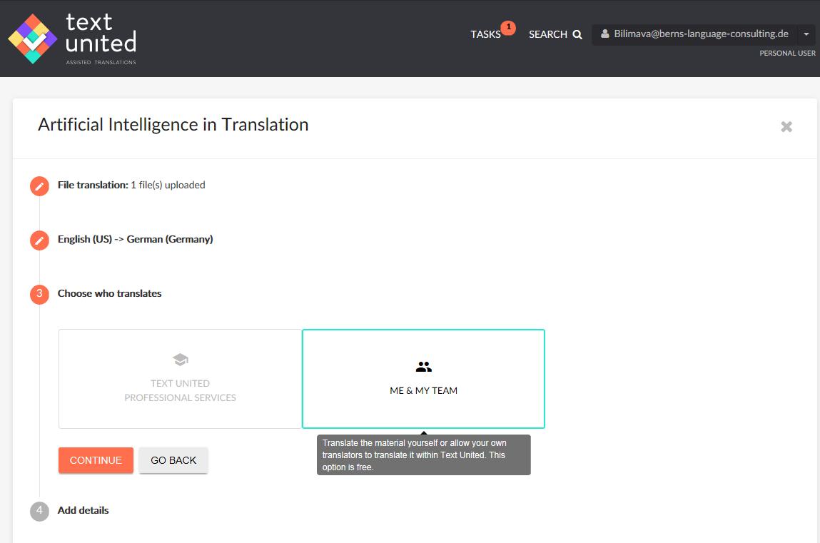 Projekterstellung in Text United (Screenshot von blc)