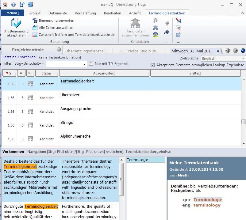 Unternehmensterminologie: Mehrsprachige Terminologie-Extraktion mit memoQ (Screenshot)