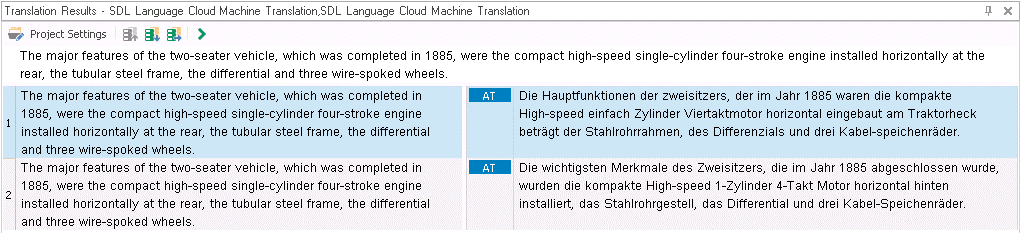 Baseline- und Industry-Engine der SDL Language Cloud im Vergleich