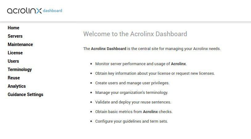 Acrolinx Dashboard