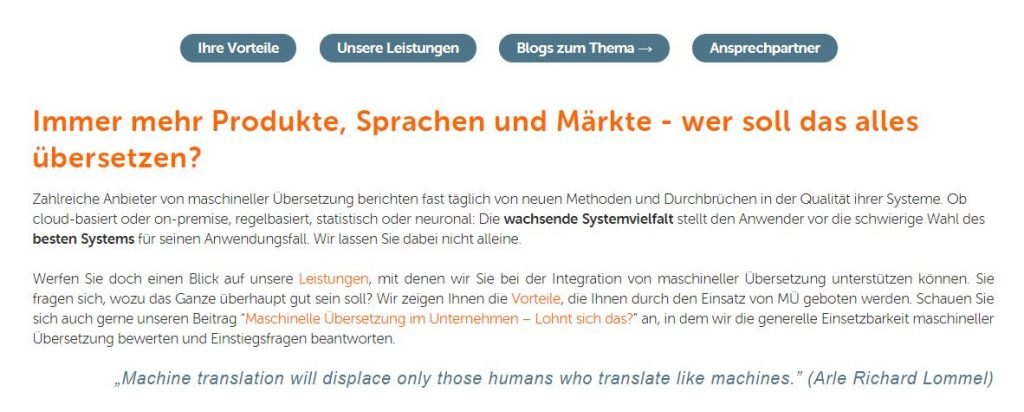 Unser neuer Internetauftritt: Alles über die maschinelle Übersetzung.