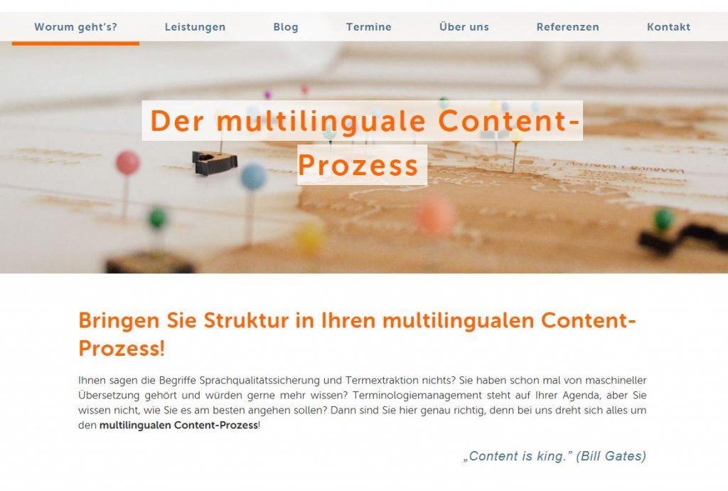 Unser neuer Internetauftritt: Worum geht es bei uns eigentlich? Um den multilingualen Content-Prozess!